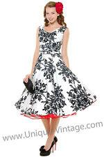 UNIQUE VINTAGE Black & White Blanc Noir Scoop Neck Belted Swing Dress XS AU 4