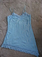 Vanity Women's Blue Crinkle Angled Lace Tank Top Size Small