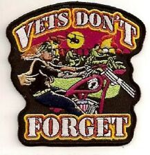 VETS DON'T FORGET EMBROIDERED IRON ON BIKER  PATCH