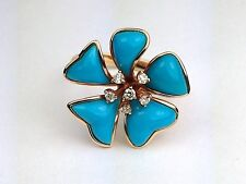 18K Rose Gold MARCH Designer Turquoise and Diamond Flower Cocktail Fashion Ring