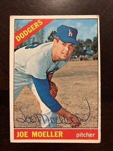 JOE MOELLER 1966 TOPPS AUTOGRAPHED SIGNED AUTO BASEBALL CARD 449 DODGERS