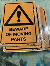 beware of moving parts safety sticker 130x90mm pack of 5