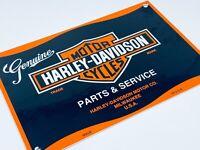 VINTAGE HARLEY DAVIDSON PARTS & SERVICE ADVERTISING PORCELAIN GAS & OIL SIGN