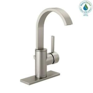 Mandolin Single Hole Single-Handle Bathroom Faucet in SpotShield Brushed Nickel