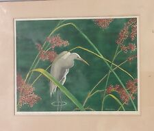 Florida Artist Randy Clark Watercolor 'Flowering Saw Grass and Egret' Signed