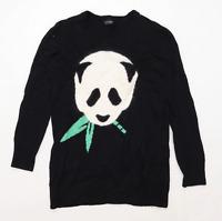 Topshop Womens Size 8 Graphic Black Panda Jumper (Regular)