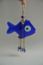TURKISH EVIL EYE GLASS FISH LUCKY HANGINGS with SACK THREAD NAZAR BONCUGU 11 CM