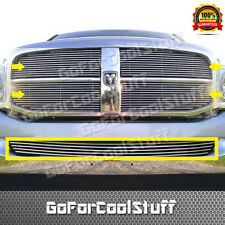 FOR DODGE 06-08 RAM PICK UP 3PC UPPER REPLACEMENT + BUMPER BOLT ON BILLET GRILLE