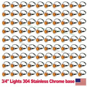 "100X Amber 3/4"" Round Side 3 LED Marker Trailer Bullet Chrome Stainless Lamps US"