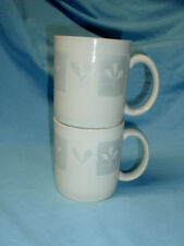 Set 2 Sakura Port of Call COTTONWOOD Ivory Gray Coffee Mug Cup Stoneware MINT