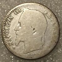 1864 France 🇫🇷 50 Cent Napoleon III World Silver Coin KM#814.1