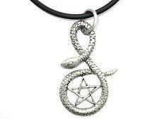 Snake Pentagram Pentacle Pewter Charm Pendant Amulet & Pvc Choker Necklace Wicca