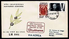 """Erstflug LH """"Sao Paulo - Genf"""" 31.08.1966 !!  HS 868 -selten-"""