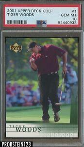 2001 Upper Deck Golf #1 Tiger Woods RC Rookie PSA 9 MINT