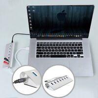 Slim USB 3.0 HUB 7 Port Powered High Speed Splitter Extender For PC Laptop Mac U