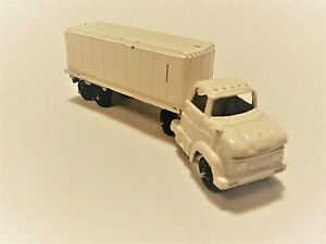 "Vintage Tootsietoy 4"" Ford Diecast Semi Tractor Trailer Truck White"