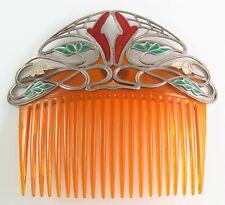 Rare Antique F. Zerrenner Art Nouveau Silver Plique A Jour Enamel Hair Comb