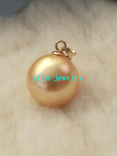 huge round AAA huge 16mm gold  south sea shell pearl pendant 14K gold