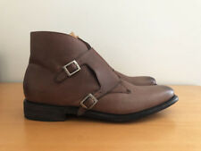 MEN'S J.D. FISK BROWN GENUINE LEATHER MONK STRAP ANKLE BOOTS - SIZE 8.5