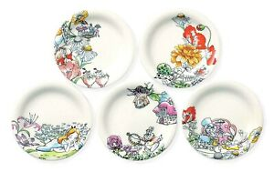 Disney Alice in Wonderland Flower Cake Mini dish set White Rabbit Plate Japan