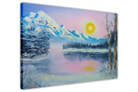 Frozen Lake Oil Painting Re-Print Framed Canvas Wall Art Landscape Pictures Deco