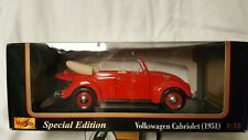 Maisto Special Edition 1:18 Die-Cast 1951 Volkswagen Cabriolet, Red, Mint in Box