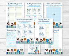 Sports All Star Football Baseball Baby Shower Games Pack - 8 Printable Games
