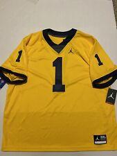Nike Jordan Michigan Wolverines #1 Maize Vapor Limited Football Jersey Mens 3XL