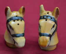 Vintage Salt and Pepper Shakers Horse Heads w/ Stopper Japan