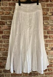 PER UNA White Cotton Summer Full Skirt SIZE 12L LACE APPLIQUE LIGHTLY WORN