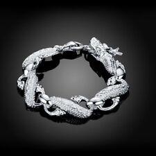 Wholesale Fashion 925Sterling Solid Silver Men Jewelry Dragon Bracelet H036