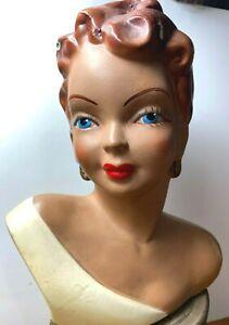"Vintage Rare 1940s Bust Head Vase Votive 7.5"""" Plaster of Paris Made in USA"