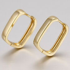 9ct Yellow Gold Plt Square Rectangle Hoop Earrings New UK 236