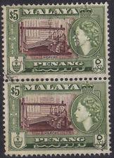 Malaya Penang 1957 2 x $5 brown & bronze-green Weaving sg 54 used.
