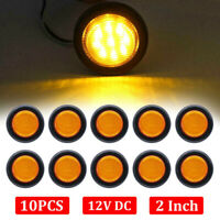 "10x LED 2"" Round Truck Trailer Amber Side Marker Clearance Light LED Sealed 12V"