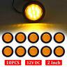 "10x LED 2"" Round Truck Trailer Amber Side Marker Clearance Light LED Sealed 12V"