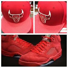 "Chicago Bulls  snapback For Jordan 5 ""red suede"""
