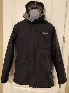 Burton The White Collection Dry Ride Black Ski Coat Tech Pocket Medium