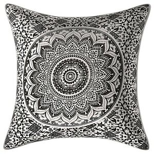 Indian Cotton Outdoor Cushions  40cm x 40cm Printed Mandala Ombre Pillow Covers