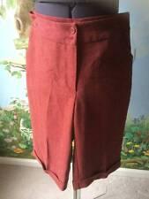Claudia Richard Wine Herringbone Capri Cropped Cuffed Dress Pants/Shorts SZ S