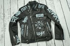 NEW REPLAY JACKET REAL LEATHER M8721P 000 82246S Size L but fits M BLACK ITALY