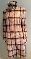 Brand New Next Mohair & Wool Long Check Pink Coat Funnel Neck Size 12