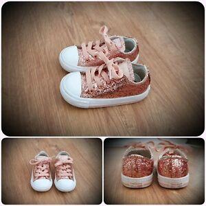 #25 Girls Rose Gold Glitter Converse UK Size 5 Infant