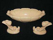 AMERICAN GLZD POTTERY > LG.CONSOLE BOWL W/MATCHING PAIR (double) CANDLE HOLDERS