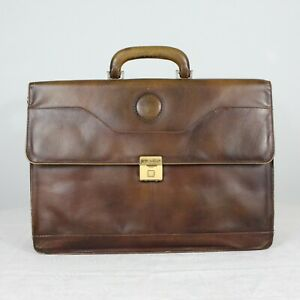 """E22 Vtg Pierre Goldman Leather Briefcase Satchel Attache Men Brown 16""""/ 12""""/ 5"""""""