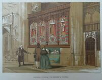 Antique lithograph print - Painted screen St George's Chapel - Leighton Bros