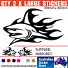 SHARKS x 2 - Mirrored Pair 700mm x 460mm - LARGE BOAT DECALS