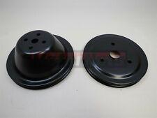 Black Sbc Chevy 283 350 Short Water Pump Pulley Set Single 1 Groove Swp Crank