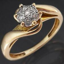 Higher Set Solid 9k Yellow GOLD 7 DIAMOND ILLUSION CLUSTER RING Mid Sz L1/2
