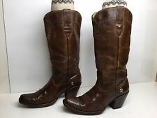 VTG WOMENS CORRAL SQUARE TOE COWBOY BROWN BOOTS SIZE 8.5